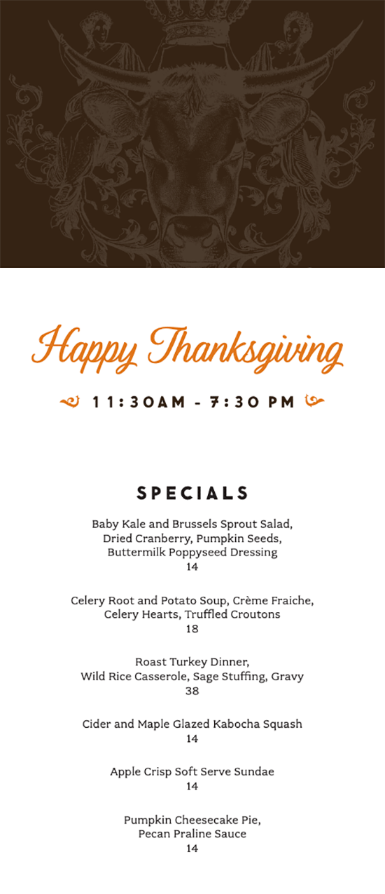 2019 Thanksgiving menu Continental