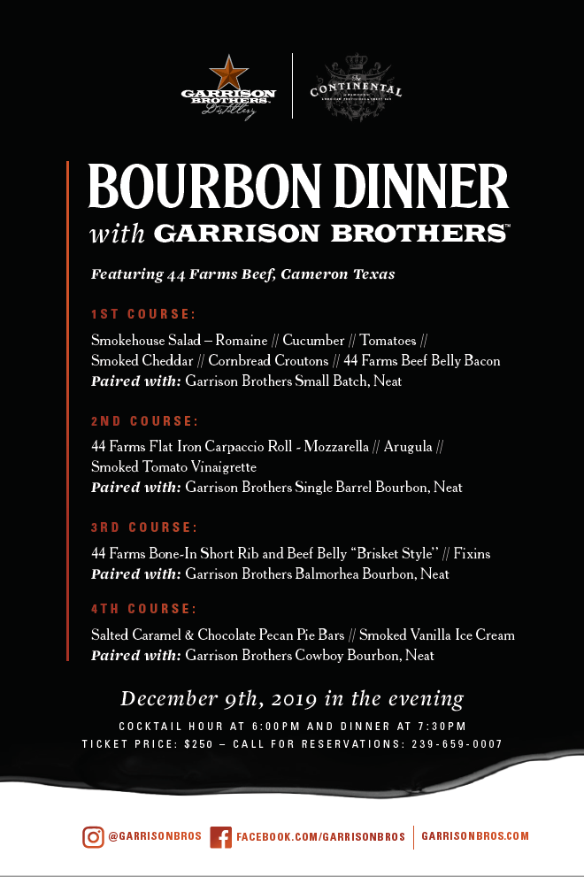 Continental Bourbon Dinner Garrison December 2019