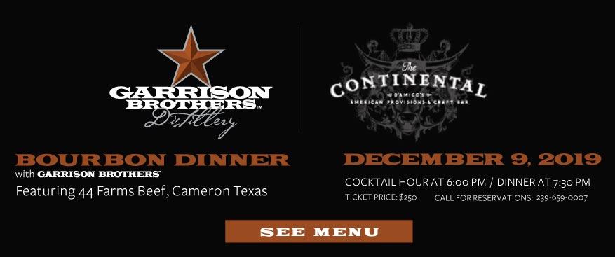 Continental Bourbon Dinner Garrison December 2019