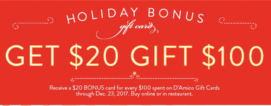 D'Amico Holiday Gift Card Bonus